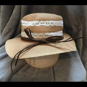 D & Y Lace and Faux Leather Trim Straw Hat